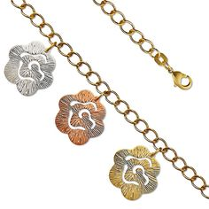 """7"""" Tricolor Flower 14K Yellow Gold Plated Charm Link Bracelet"""