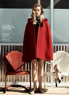 Saint Laurent, Vogue China October 2014 red cape coat poncho Fall Look