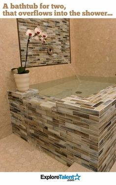 Um YES!! In master bathroom a two person bath tub that overflows in to the shower!