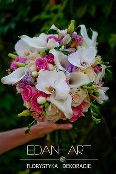 Bukiety Ślubne Edan-Art Mrągowo, Olsztyn, Warmińsko-Mazurskie, biały, fiolet, róż, ślub, zantedeschia, róża, frezja, eustoma, phalaenopsis, #bukiet