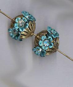 vintage rhinestone beadballs blue rhinestone flowers with filigree TWO rhinestone beads 14mm x 18mm each by beadtopiavintage on Etsy