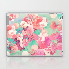 Romantic Pink Retro Floral Pattern Teal Polka Dots  Laptop & iPad Skin by Girly Trend - $25.00