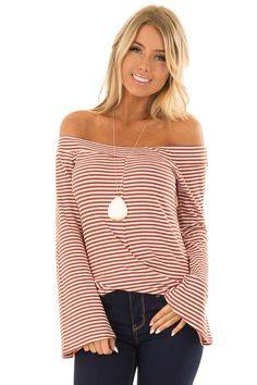 4839d3444b0a1 Rust Striped Off the Shoulder Top with Long Bell Sleeves Bell Sleeves