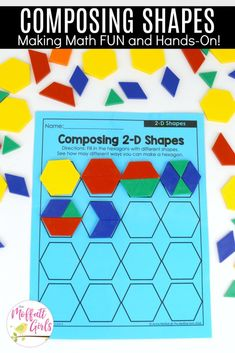 Composing Hexagons: These fun Grade Math activities help students understand basic geometry with the use of shapes and fractions in a hands-on way! Math Classroom, Kindergarten Math, Teaching Math, Preschool Math, Elementary Education, Classroom Ideas, 1st Grade Activities, Geometry Activities, 1st Grade Math Games