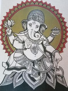 Ganesha Print - Print measures 8 x 10 inches - Original artwork done in ink & color pencil - Printed in high resolution, on 32lb semi-gloss paper