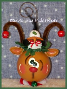 JINGLE & BERG reindeer penguin recycled light bulb winter christmas pdf epattern prim chick acrylic painting pattern 804