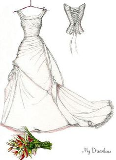 Wedding Dress & Bouquet & Small Back Sketch. Paper Anniversary Gift by Dreamlines.  Paper anniversary gifts for her and Wedding gifts from the groom to the bride.  https://www.etsy.com/listing/215401369/wedding-dress-bouquet-sketch-paper?ref=shop_home_active_1