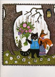 Yuri Vasnetsov (Russian, 1900-1973). Illustration of a cat with a bouquet strolling with a fox.