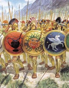 A phalanx of warriors approach. By viewing the devices on their shields, we can tell this is an amalgam army with a Gorgoneion in the center, which originated as a Korinth device in the 7th cent BCE, but was adapted by almost all poleis. A pottery symbol on the left, which I have seen identified as Attic....and a white horse with wings (Pegasus), that is identified as pure Corinthian. Artwork by Guissepe Rava