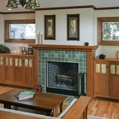 5 Amazing and Unique Ideas: Fireplace Built Ins Vaulted Ceiling small black fireplace.Fireplace Living Room Furniture shiplap fireplace with windows.Old Fireplace Metal. Fireplace Tile, Crown Point Cabinetry, Cabinetry, Home Fireplace, Craftsman Fireplace, Craftsman House, Fireplace Remodel, Fireplace Cover, Fireplace Built Ins