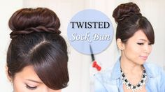 Twisted Sock Bun Updo Hairstyle | Long Hair Tutorial.    Love the twisted wrap around!