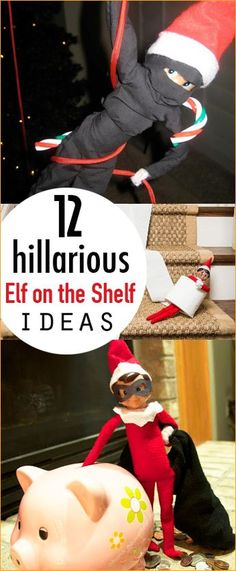 12 Hilarious Elf on the Shelf Ideas. Magical Elf on the Shelf disguises and hiding places. Easy Elf on the Shelf Ideas. Elf on the Shelf Ideas for Kids. Christmas Elf, Christmas Humor, Christmas Ideas, Christmas Decorations, Christmas Things, Christmas Wrapping, Christmas Christmas, Elf Auf Dem Regal, Awesome Elf On The Shelf Ideas