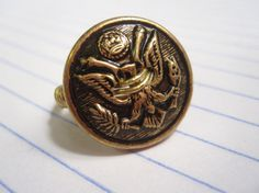 Antique Brass Eagle Coat of Arms Button Ring by Untimed on Etsy, $14.00 **On sale for only 4 more days!!