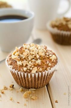 These delicious Pumpkin Pecan Crunch Muffins are super easy to make and have double the crunch stuff on top! Apple Crumble Muffins, Muffins Blueberry, Banana Crumb Muffins, Lemon Poppyseed Muffins, Oatmeal Muffins, Jumbo Muffins, Healthy Muffin Recipes, Healthy Muffins, Healthy Snacks