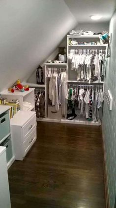 Making the most of a slanted ceiling and baby' The post Making the most of a slanted ceiling and baby' appeared first on Schrank ideen. Making the most of a slanted ceiling and baby' Attic Office, Attic Closet, Attic Playroom, Attic Stairs, Attic Rooms, Master Closet, Closet Bedroom, Closet Space, Walk In Closet
