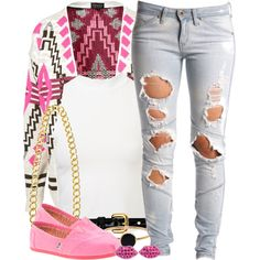 pink and ripped jeans so sweet and cute:D