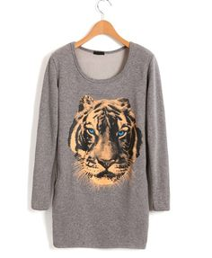 Longline Scoop Neckline Cotton T-shirt in Gray with Tiger Print