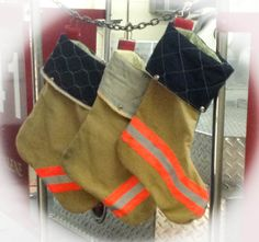 Recycled Firefighter Christmas Stocking - Tan Turnouts orange reflector