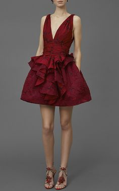 MARCHESA | Textured Rose Brocade Dress - Sleeveless, Scarlet brocade, Deep v-neckline, Fitted bodice, Flounced peplum with assymetrical cut, Mini lenght skirt with in-seam pockets.