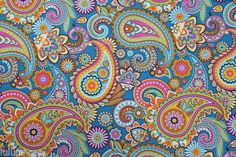 BLUE-PAISLEY-Upholstery-Curtain-Cotton-Fabric-Material-DOUBLE-WIDTH-280cm-wide