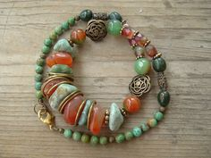 DISCS BETWEEN CHUNKY PIECES...........................................Bohemian Southwest Necklace, Chunky Gemstone, Czech Glass, Brass Accents