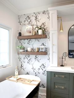 Black and white wallpaper paired with rustic floating shelves. #rustichomedecor #wallpapers #bathroom White Bathroom With Wallpaper, Bathroom Wallpaper Inspiration, Black And White Master Bathroom, White Bathroom Shelves, Black And White Wallpaper, Modern Farmhouse Bathroom, Rustic Bathrooms, Cute Bathroom Ideas, Bath Ideas