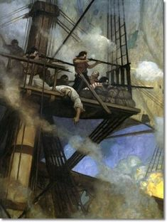 Pirates - N.C. Wyeth - The Fight in the Foretop Painting: