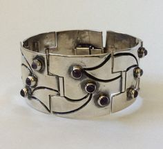 Jose Luis Flores Mexican Modernist Sterling Silver Bracelet with Amethyst Cabochons
