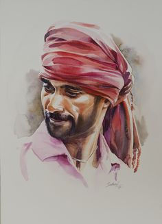 Man portrait Watercolour on paper Watercolor Art Face, Watercolor Paintings For Beginners, Watercolor Landscape Paintings, Watercolor Portraits, Anime Comics, Indian Art Paintings, Creative Portraits, Acrylic Painting Canvas, Art Sketches