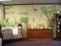 Jungle theme nursery mural by http://muralmax.com