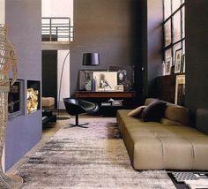 living room. eggplant and beige.