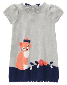 Fox Sweater Dress at Gymboree: 100% cotton knit Features intarsia fox and flowers with embroidery Scalloped rib trim. Bow button closure at back (baby girl Fairy tale forest $36.95) cute matching tights, beret & silver shoes