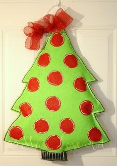 Polka Dot Christmas Tree Burlap Door Hanger Decoration HUGE. $35.00, via Etsy.