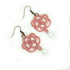 lace jewelry lace earrings  tatted lace romantic by Decoromana, $21.00