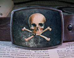 skull belt buckle, crosbones buckle 285. $19.00, via Etsy.