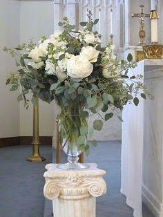 13: Centerpieces; Mainly Eucalyptus & Mixed Greenery w/ very few White Anemones, White Roses, White Flowers.