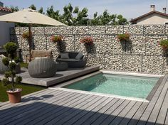 Take a look at pool design ideas for small backyard from our archives that will get you in the summer mood. Small Swimming Pools, Small Backyard Pools, Small Pools, Swimming Pools Backyard, Swimming Pool Designs, Small Patio, Backyard Patio, Backyard Landscaping, Pool Spa
