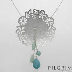 PILGRIM - Flower & Aqua Jade Necklace in Silver Base Metal