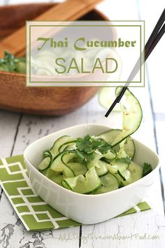 Low Carb Paleo Thai Cucumber Salad - pair the bright spicy flavours of Thai dressing with cucumber noodles for a delicious, light summer salad.