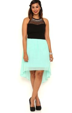 Deb Shops Short High Low Dress with Illusion Stone Halter Neckline $27.90