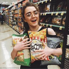 Ready to party: Maisie Williams - who plays Arya Stark in Game Of Thrones - was up to another trick on Sunday as she surprised UCLA students by crashing a viewing party they'd thrown ahead of season six