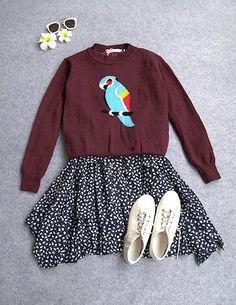 Zhao咪咪的小铺子,2014秋冬季新款甜美学院风针织毛衣碎花连衣裙休闲时尚套装 女装