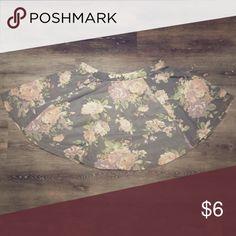 Grey Floral Skater Skirt Grey skater shirt with pink floral design Wet Seal Skirts Circle & Skater