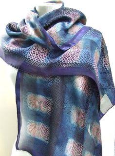 Silk scarf, hand dyed indigo shibori, snakeskin pattern, upcycled
