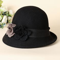 a480314a7cb5a 2014 Women Wool Bucket Felt Hat Bowler Fedoras Double Color Flower Church  Hat Chapeu Panama Feminino 3 Colors