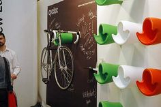 The Cycloc Bike Storage Design With Signature, bike rack storage, outdoor bike storage ~ Home Design Bike Storage Options, Bike Storage Design, Bike Storage Home, Outdoor Bike Storage, Bicycle Storage, Rack Design, Design Design, Coat And Shoe Storage, Built In Storage