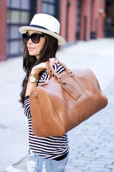 Vegan Leather Weekend Bag + hat + stripes + distressed jean shorts