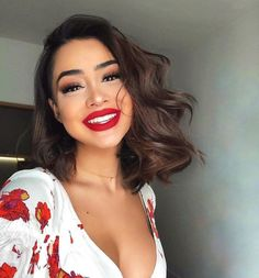 Trendy Makeup Looks With Red Lipstick For You; Stunning Makeup Looks; Red Makup Looks; Hair And Beauty, Beauty Make-up, Beauty Hacks, Prom Makeup, Eye Makeup, Red Lipstick Makeup, Hair And Makeup, Tan Skin Makeup, Bold Lip Makeup
