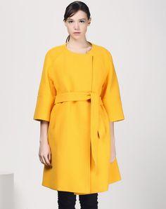 #AdoreWe #VIPme Coats - SAINTY Yellow 3/4 Sleeve Woolen Belted Coat - AdoreWe.com