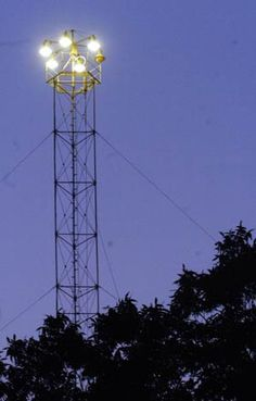 """One of the 17 original """"Moonlight"""" towers still in operation. 31 towers were installed in 1895 using carbon arc lamps. Austin is the only city in the US to still have operating towers."""